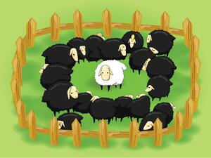 Black sheep surrounding white sheep re: importance of competitive advertising analysis