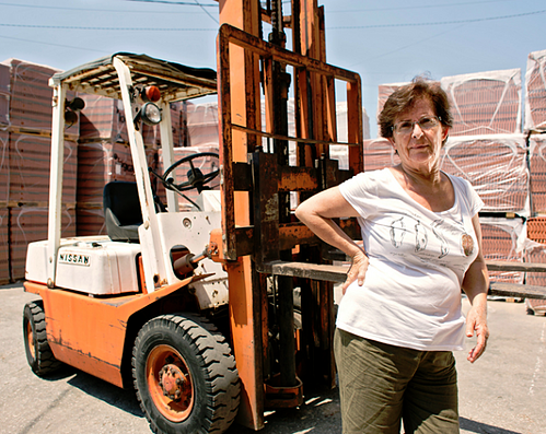 Unstereotype Alliance depicts older woman with a forklift as example of gender equality.